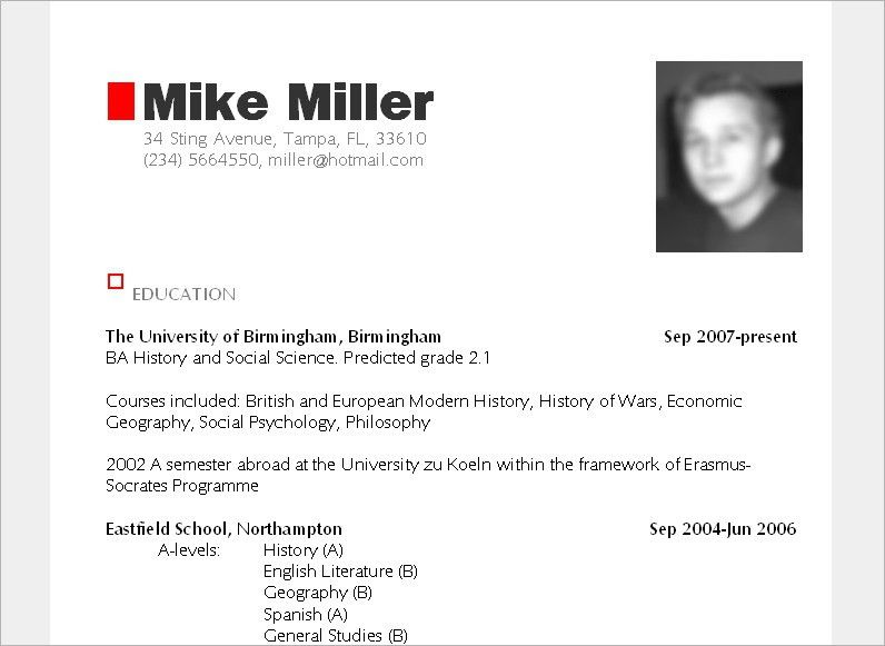 Resume Sample Download In Word Curriculum Vitae Sample Download ...