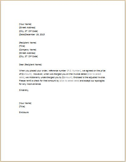 Letter Correcting Invoice that Undercharged | Word & Excel Templates