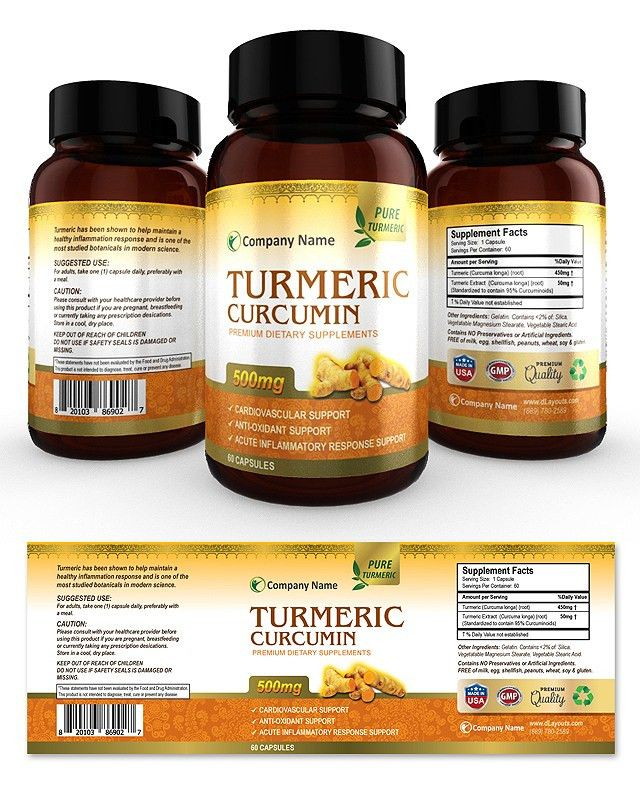 Turmeric Curcumin Supplement Label Template | Creative Brochure ...