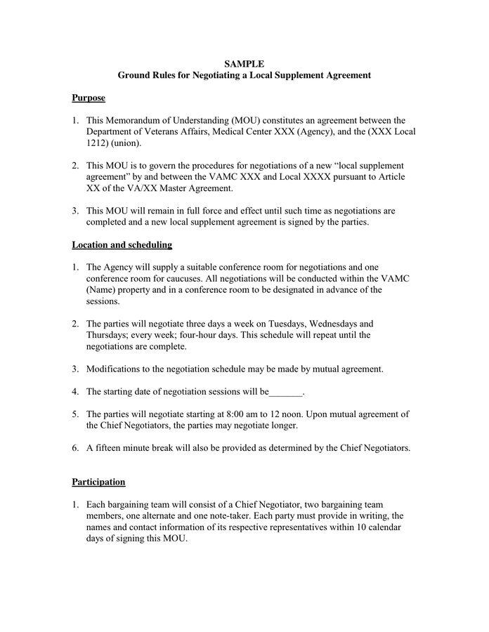 Memorandum of Understanding in Word and Pdf formats