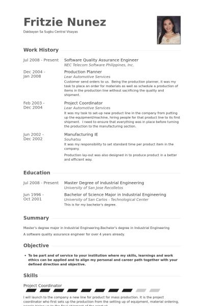 quality assurance engineer resume samples visualcv resume - Industrial Engineering Resume Samples