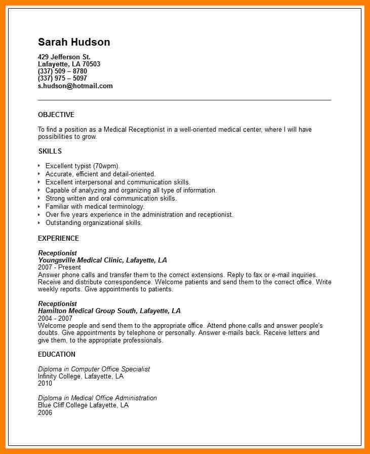 5+ receptionist resume objective | billing clerk resume