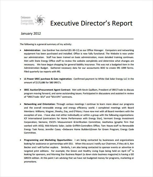 Executive Report Templates - 9+ Free Sample, Example, Format ...