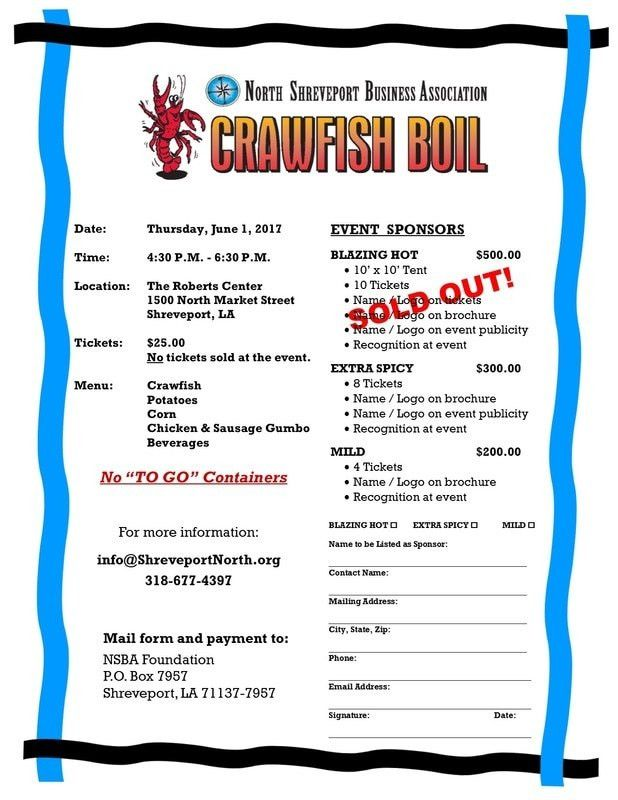 Crawfish Boil Sponsorship Form - North Shreveport Business Association