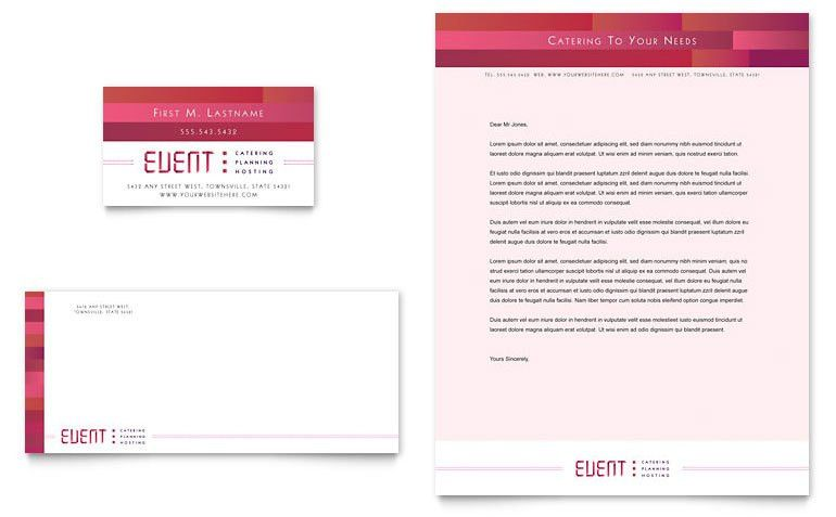 Corporate Event Planner & Caterer Business Card & Letterhead ...