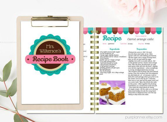 Personalized recipe book template, editable recipe pages and cover ...