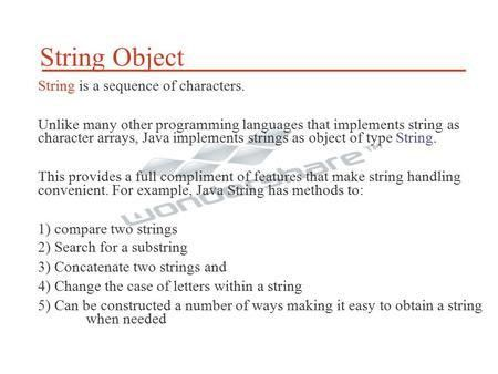 Strings in Java 1. strings in java are handled by two classes ...