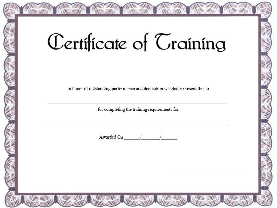 11 Free Sample Training Certificate Templates – Printable Samples