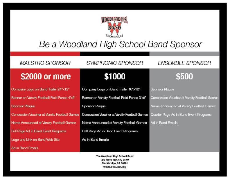Become a Sponsor | | Woodland High School Bands