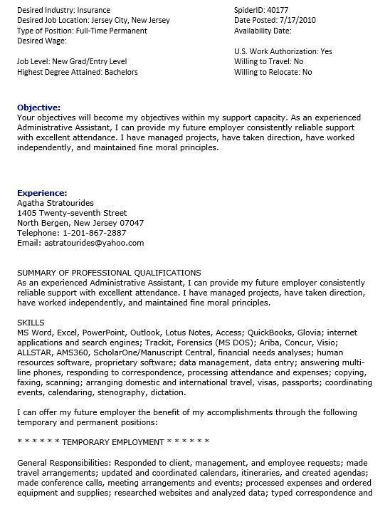 sample insurance assistant resume 16 free sample insurance