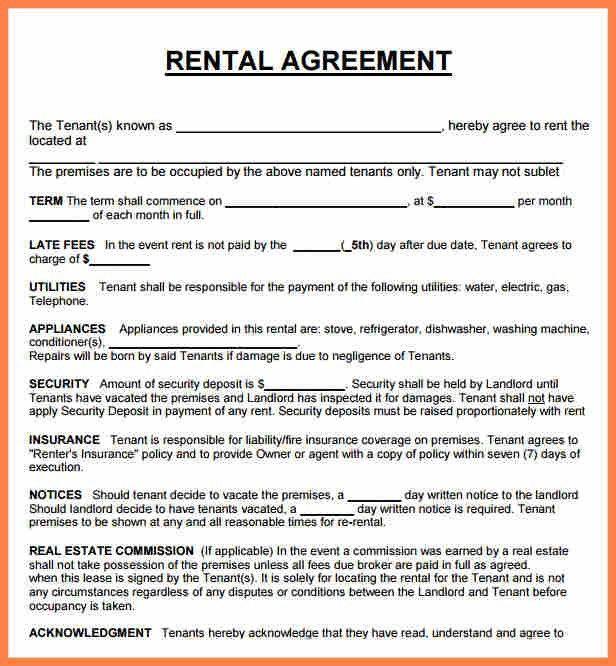 House Rental Agreement. Blank House Rental/Lease Agreement Sample ...