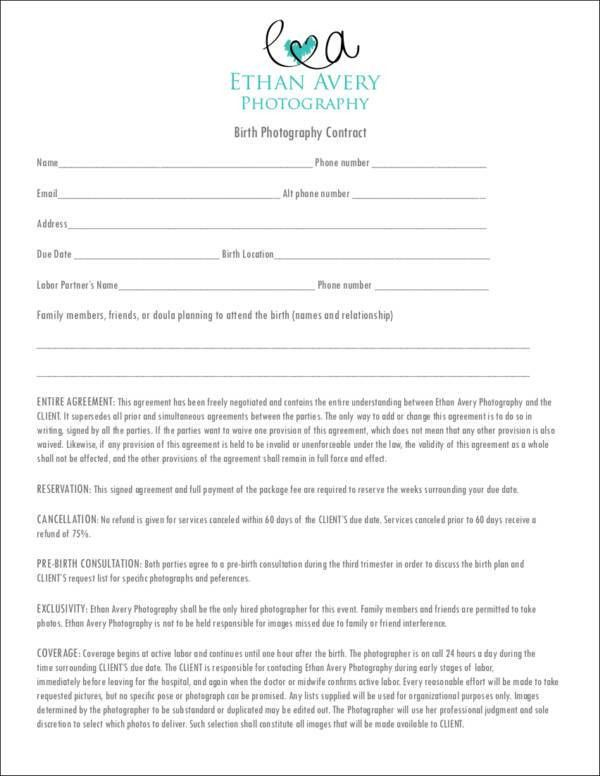 Birth Photography Contract Template. short form general ...
