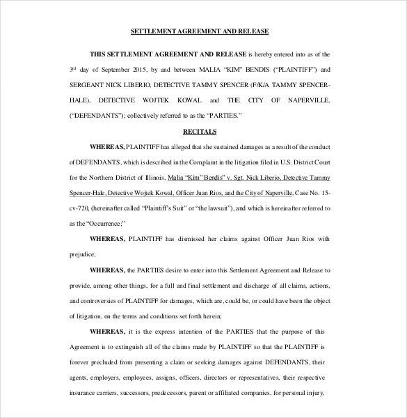10+ Settlement Agreement Templates – Free Sample, Example, Format ...