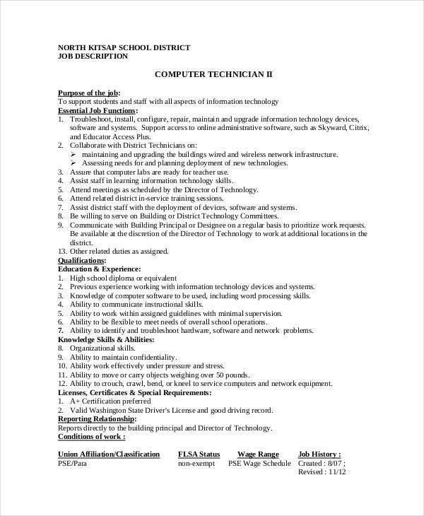 Computer Technician Job Description - 9+ Free PDF Documents ...