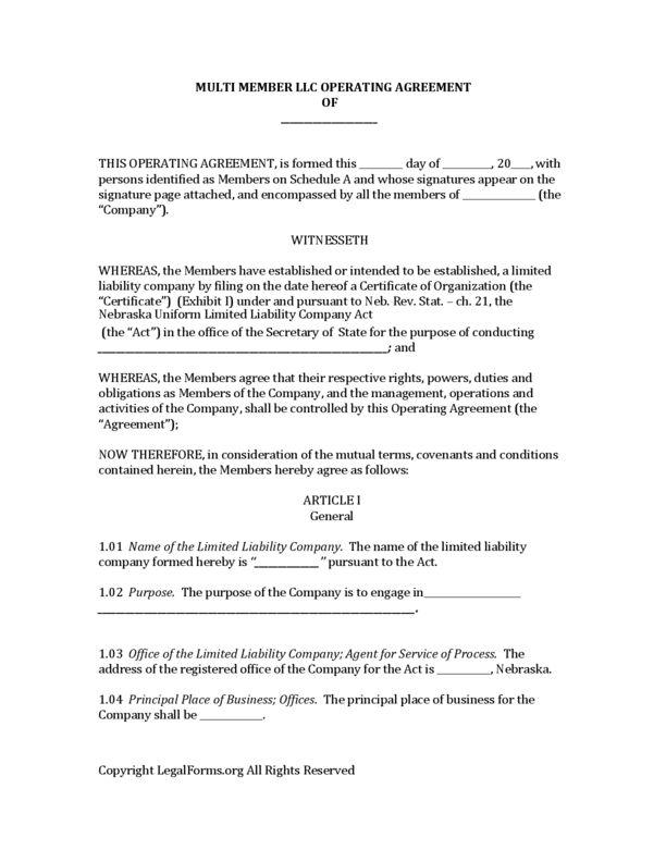 Nebraska LLC Operating Agreement | LegalForms.org