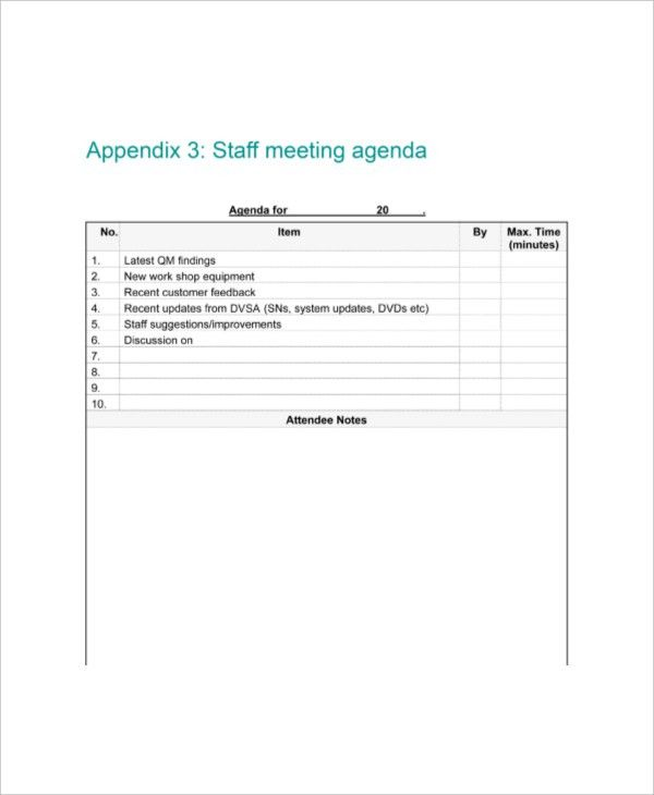 9+ Staff Meeting Agenda Templates – Free Sample, Example Format ...