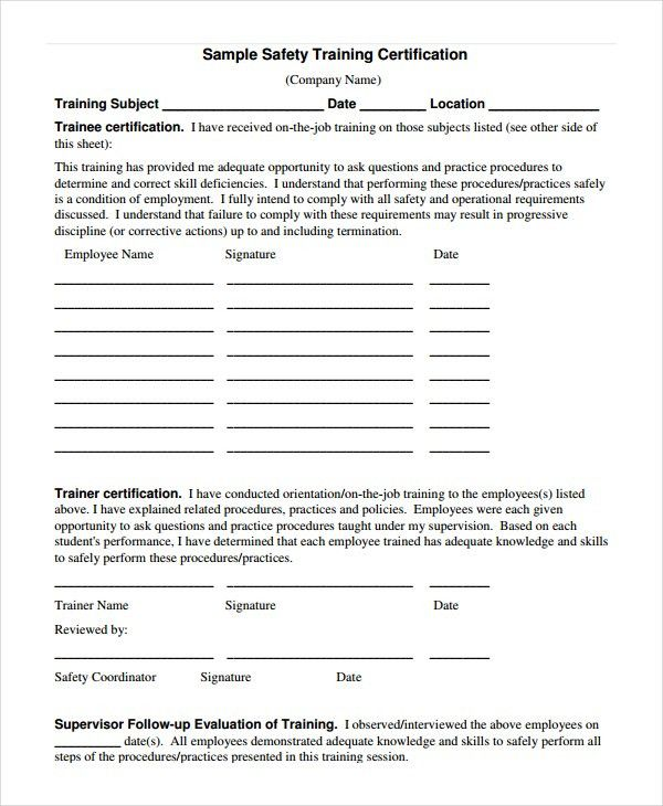 safety certificate template
