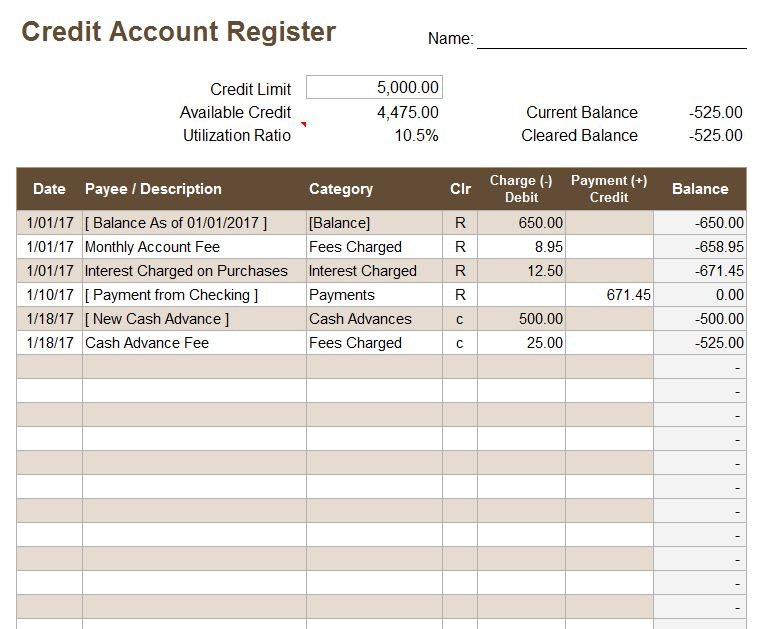 Free Excel Checkbook Register - Printable