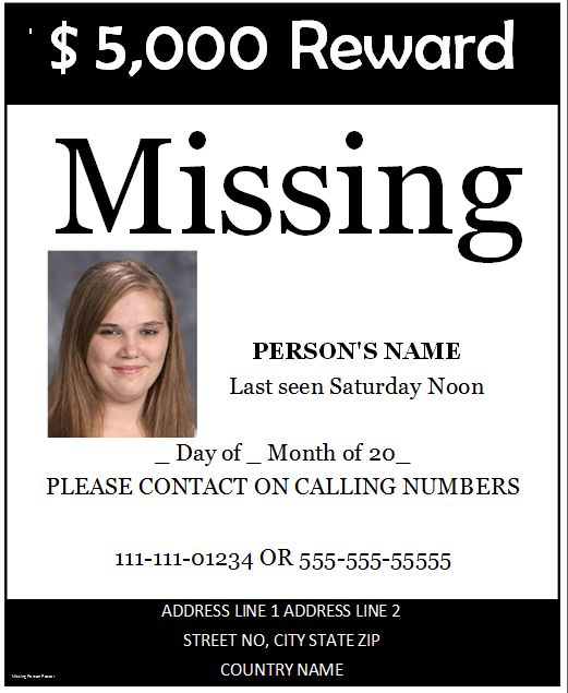 Missing Person Poster Template | Microsoft Word Templates