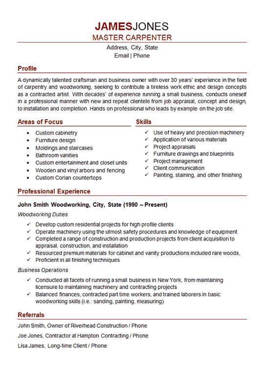 Carpenter Resume Example - Woodworker