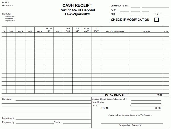 Formal Cash Receipt Template