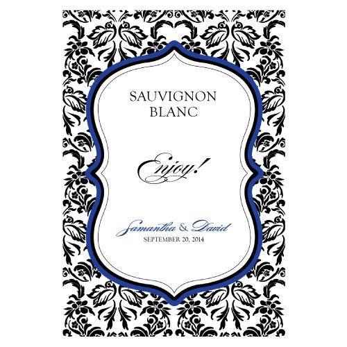 Damask Wedding Wine Bottle Labels (Set of 8)