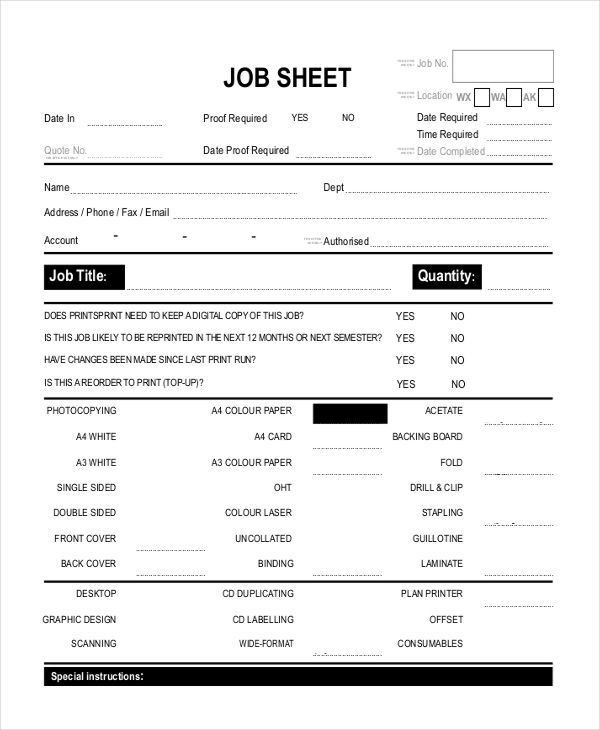Job Sheet Templates - Free Sample, Example Format Downlaod | Free ...