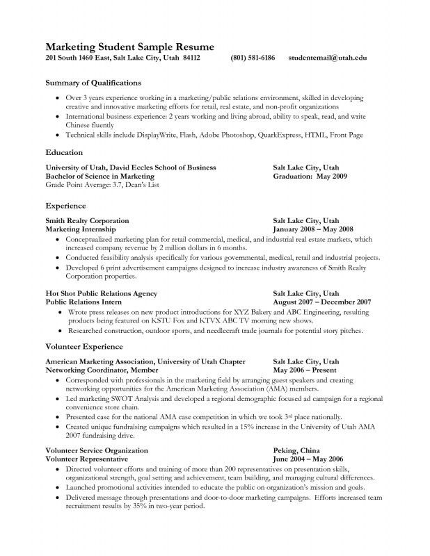 First Year College Student Resume | Samples Of Resumes