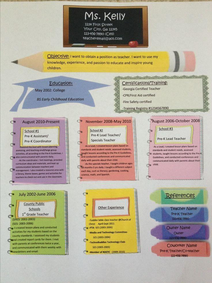 elementary teacher resume%0A    best Teaching resume images on Pinterest   Resume ideas