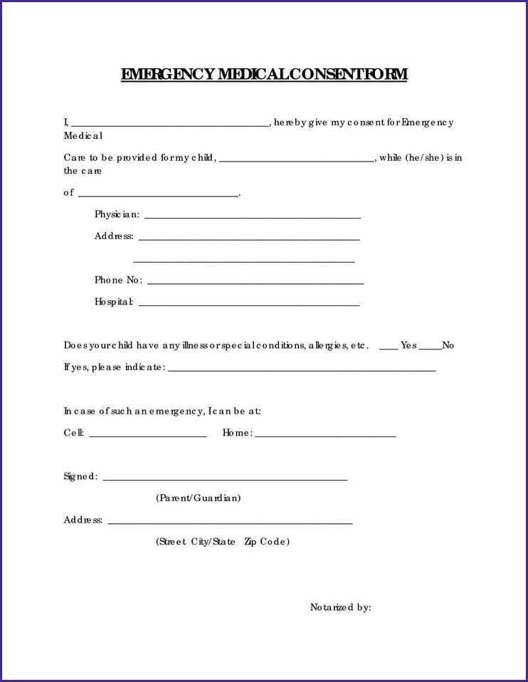 FREE PRINTABLE CHILD MEDICAL CONSENT FORM | letterproposaltemplate.com