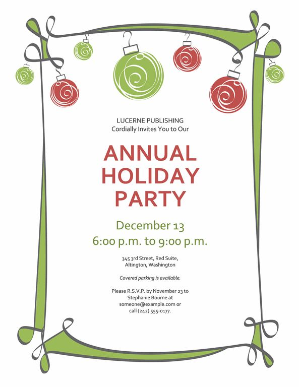 Holiday Party Invite Template - cloveranddot.Com