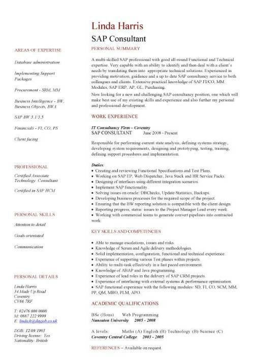 SAP CV sample, SAP jobs, resume, writing a curriculum vitae, CV ...