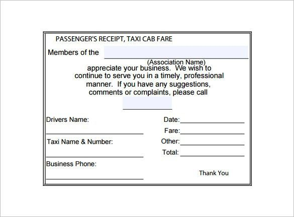 Taxi Receipt Template – 9+ Free Sample, Example, Format Download ...