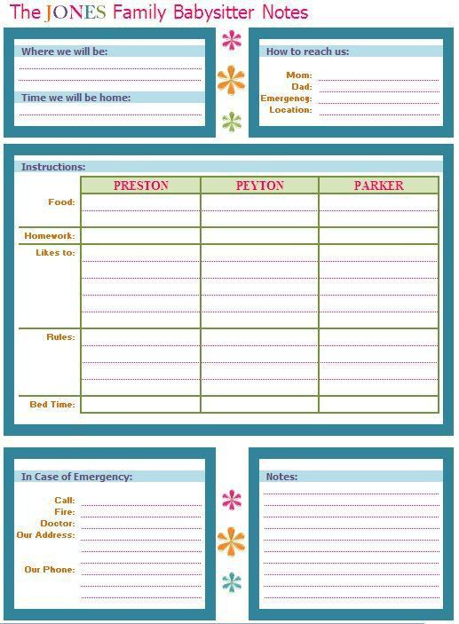 Best 10+ Babysitter notes ideas on Pinterest | Babysitter ...