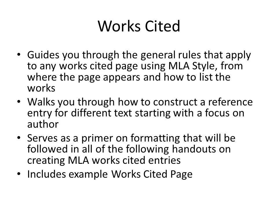 MLA FORMAT. - ppt download