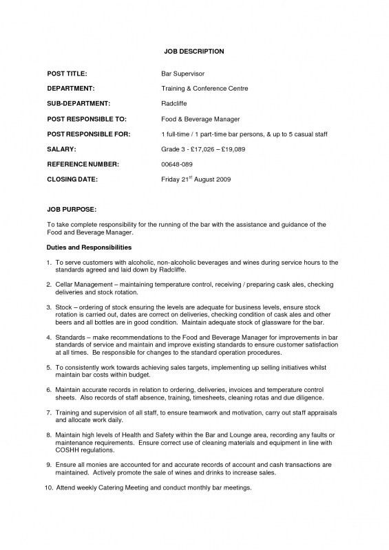 Operations Manager Job Description Resume | Samples Of Resumes