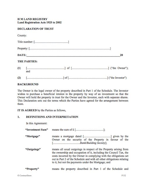 Co-ownership Agreement Template for a House or Flat | ContractStore