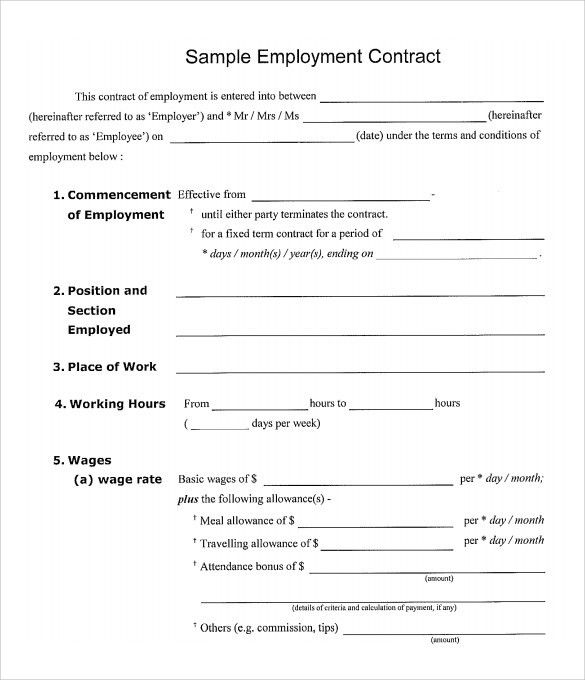 Work Contract Template. Construction Contract Sample , 8+ ...