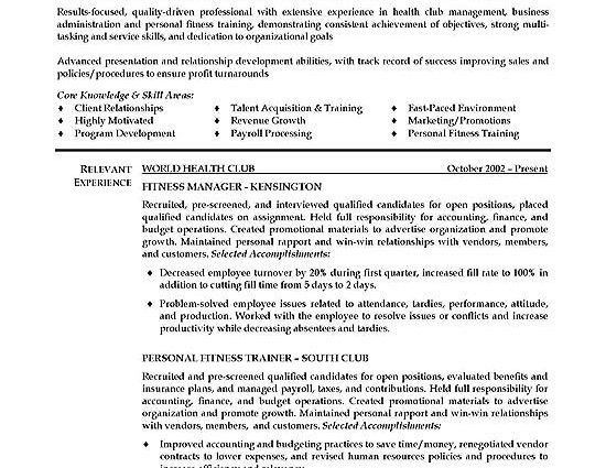 Fitness Trainer Resume Example Personal Trainer Sample Resume ...