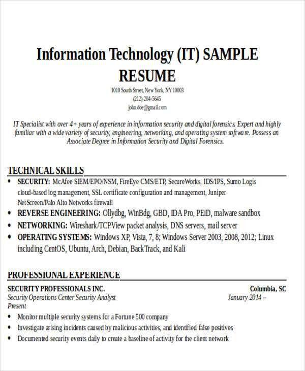 It Resume. Outside Sales Resume It Resume Uroresumetemplate Sample ...