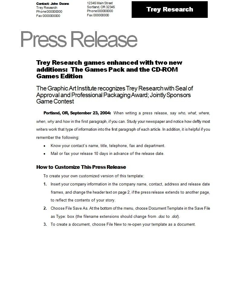 Press Release Template | tristarhomecareinc