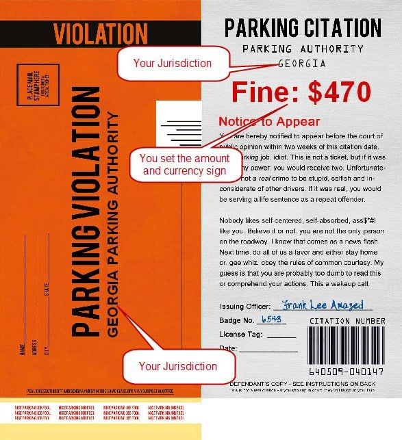 fake parking ticket template printable