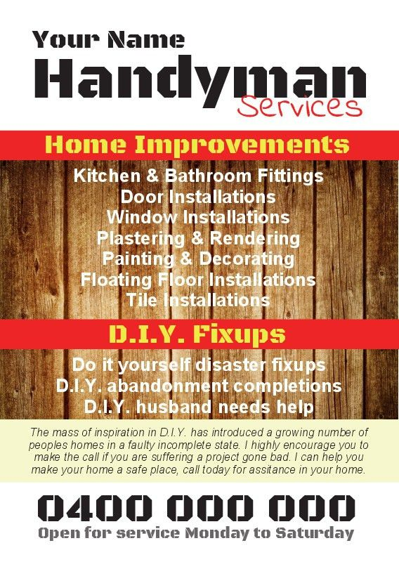 Handyman Flyer Template. Handyman Flyer Template ~ Flyer Templates ...
