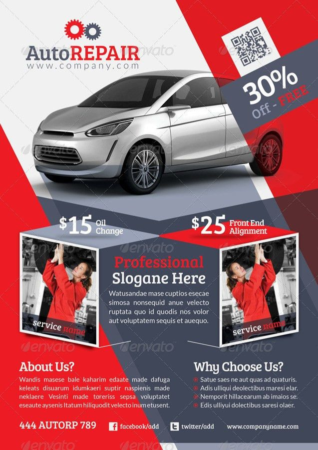 Automobile Repair Flyer Template by grafilker | GraphicRiver