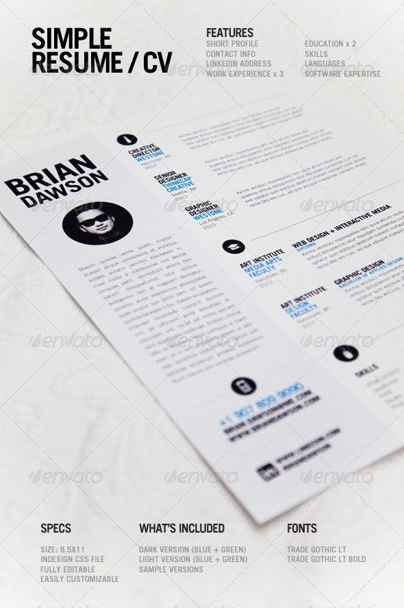 A simple, clean resume template perfect for designers. Light and ...
