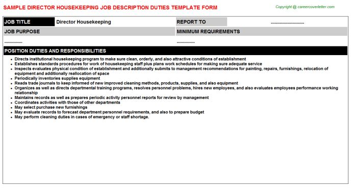 Housekeeping Inspectress Job Descriptions