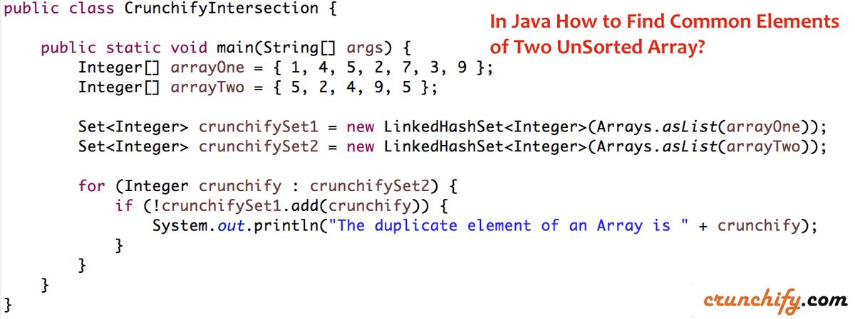 In Java How to Find Common Elements of Two UnSorted Array? • Crunchify