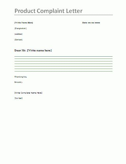 Product Complaint Letter - Product complaint letter is mostly ...
