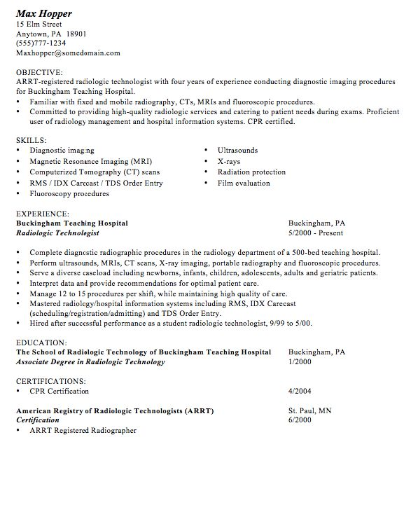 radiologic technologist sample resume click here to download this
