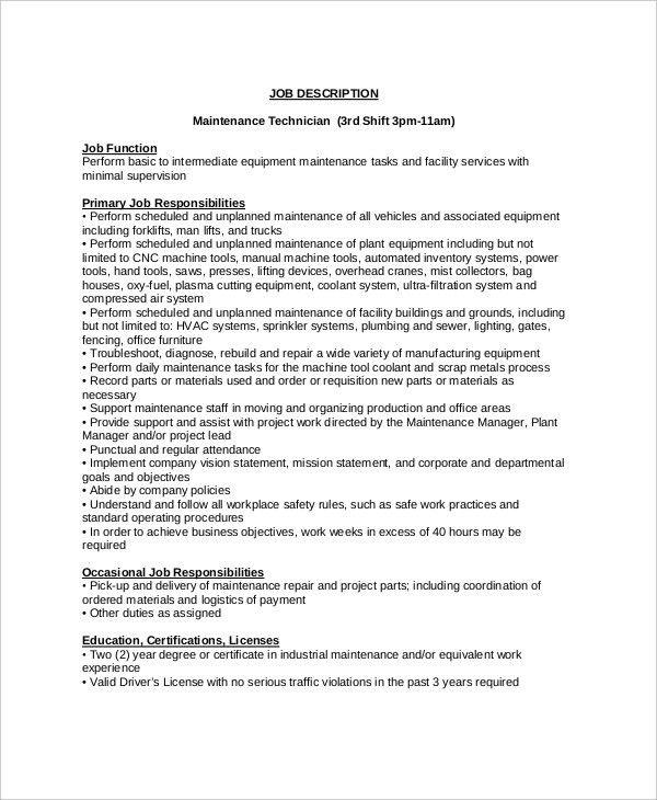 Maintenance Job Description - 9+ Free PDF Documents Download ...